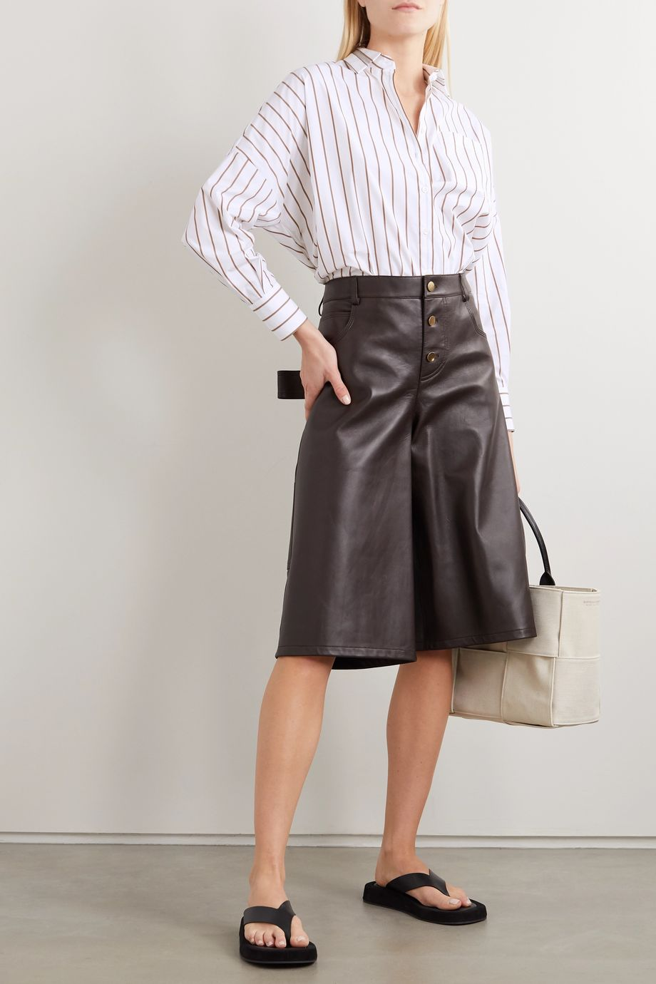 Brunello Cucinelli Bead-embellished striped cotton-blend shirt