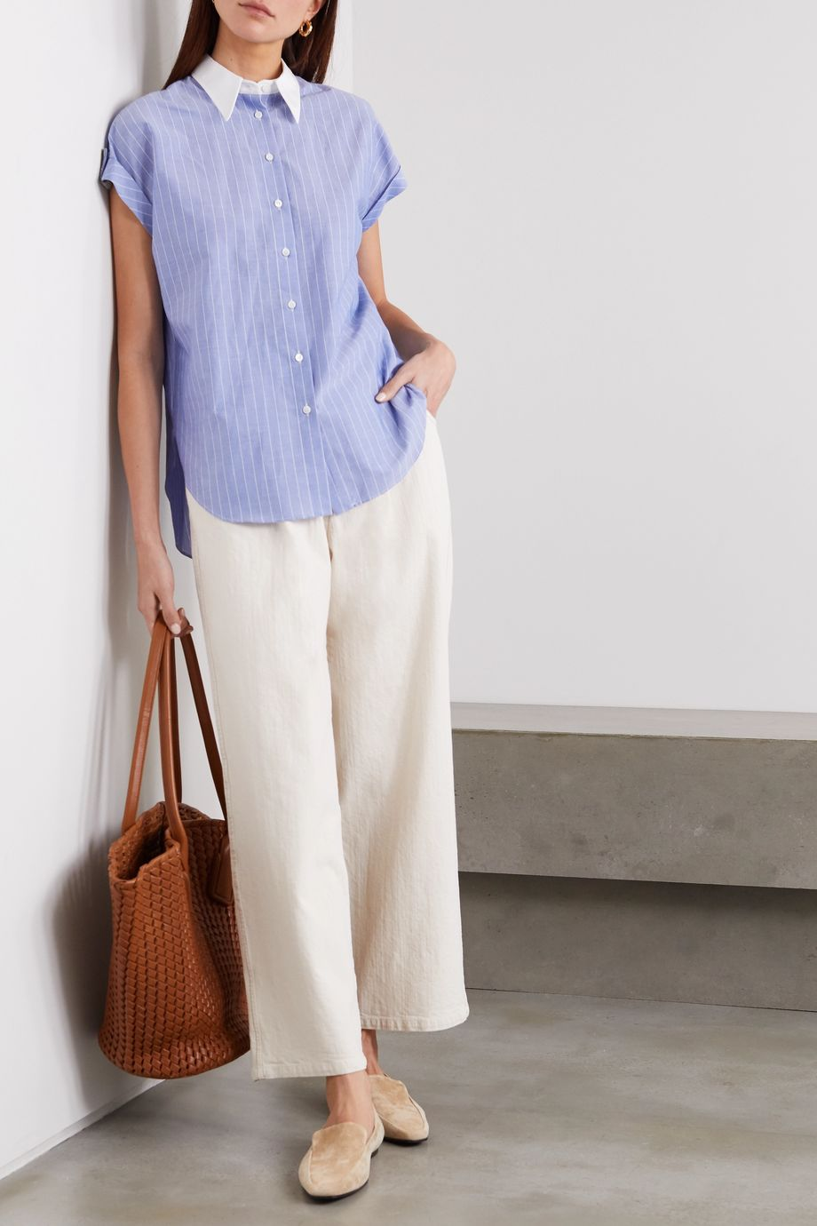 Brunello Cucinelli Bead-embellished striped cotton-poplin shirt