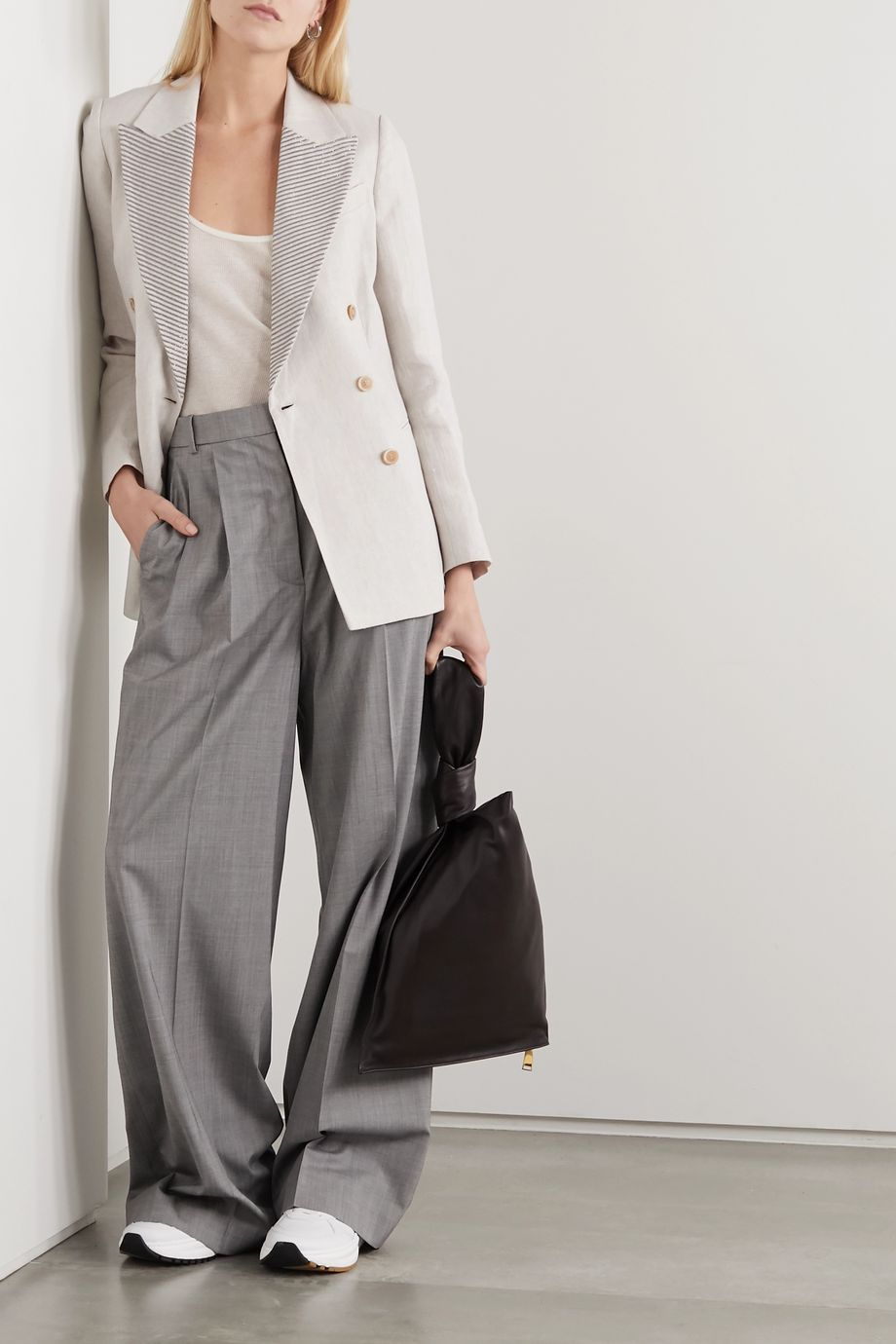 Brunello Cucinelli Bead-embellished double-breasted linen blazer