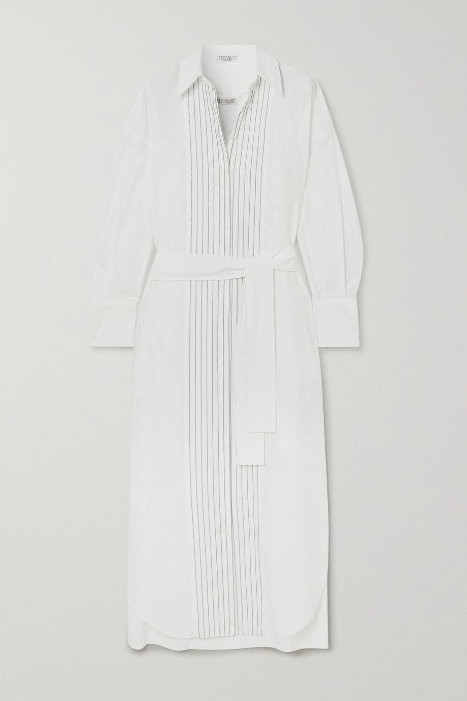 Brunello Cucinelli Belted bead-embellished cotton-poplin midi shirt dress
