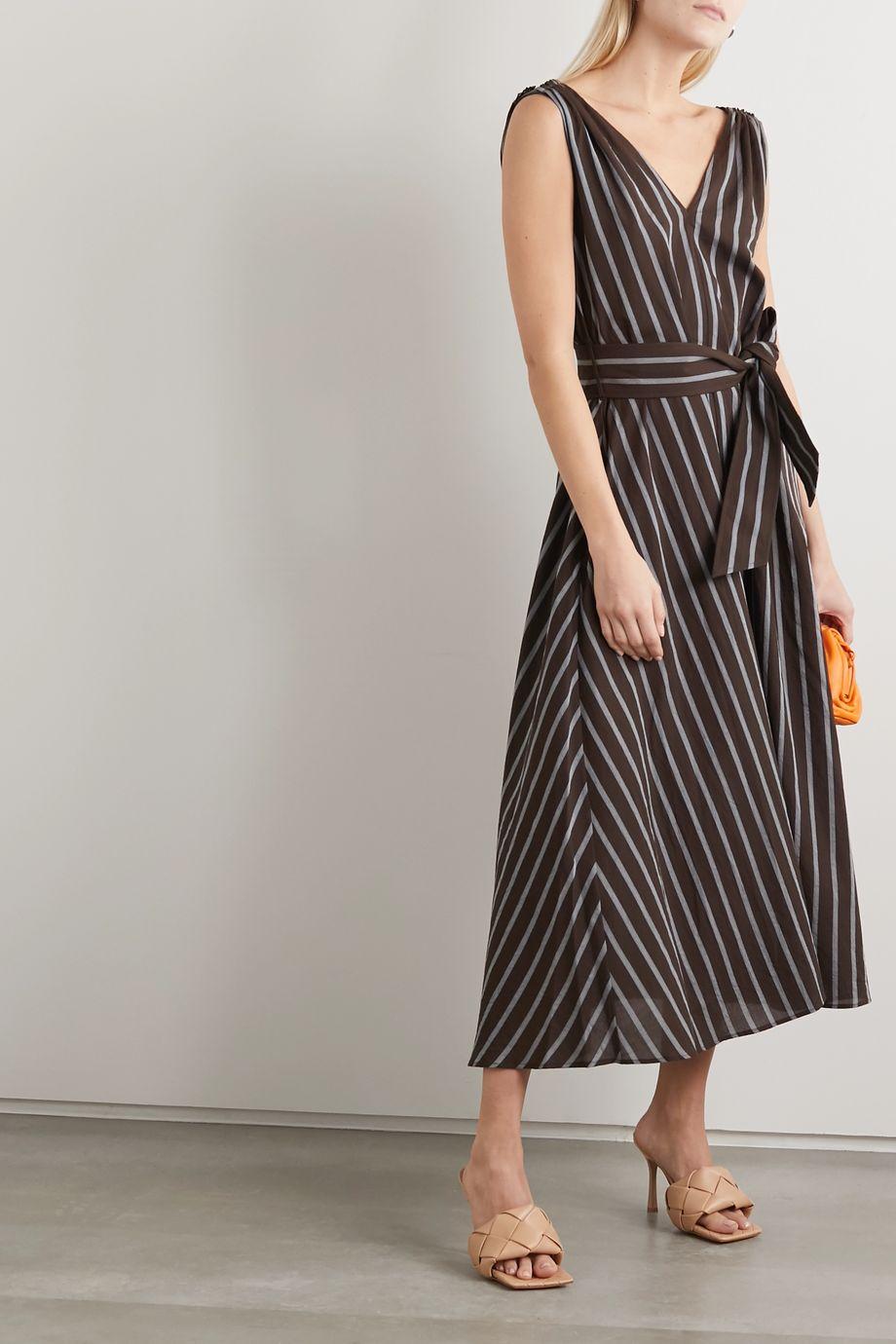 Brunello Cucinelli Belted bead-embellished striped gauze maxi dress
