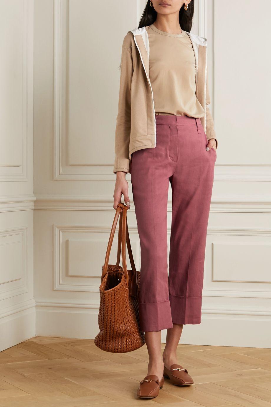 Brunello Cucinelli Cropped linen-blend straight-leg pants