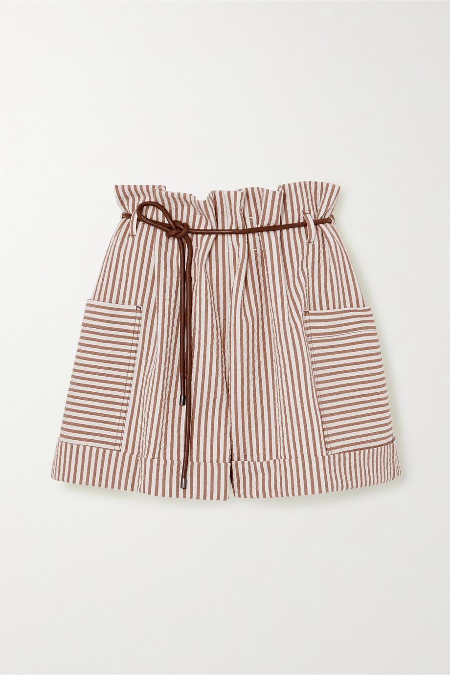 Brunello Cucinelli Belted striped cotton-blend seersucker shorts