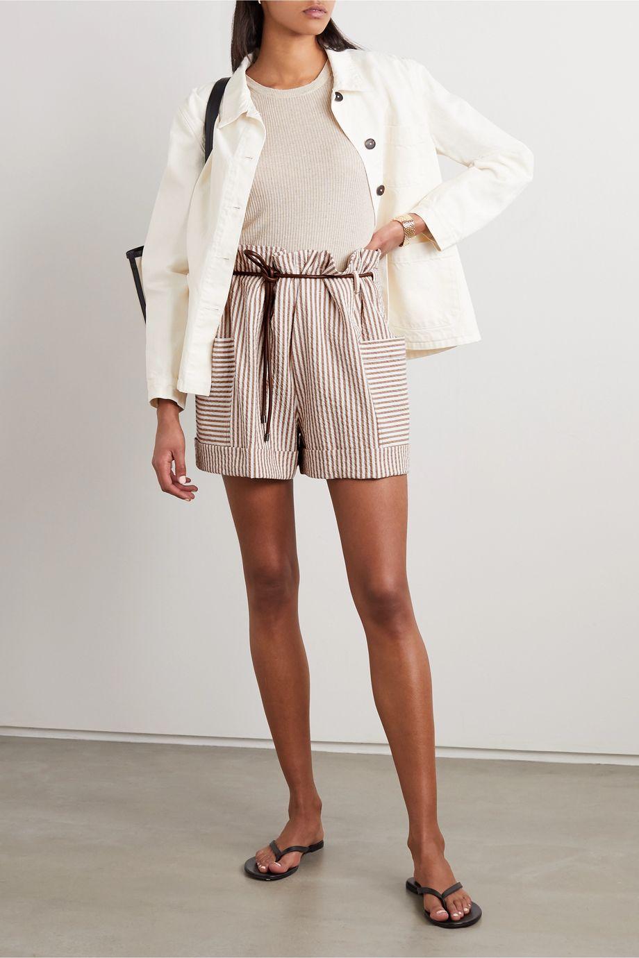 Brunello Cucinelli Shorts aus gestreiftem Seersucker aus einer Baumwollmischung mit Gürtel