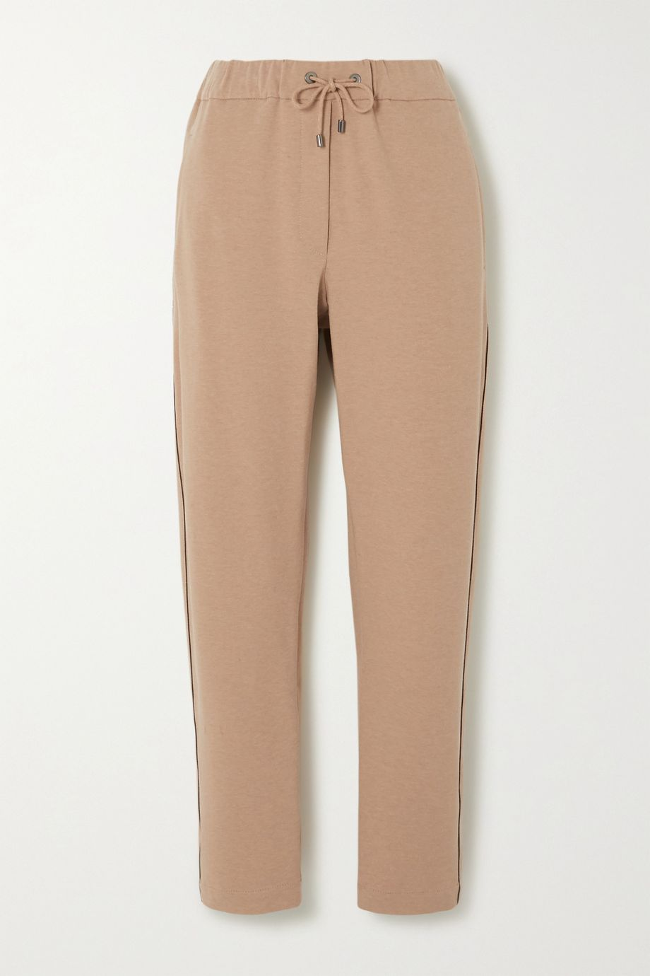 Brunello Cucinelli Bead-embellished stretch-cotton jersey tapered pants