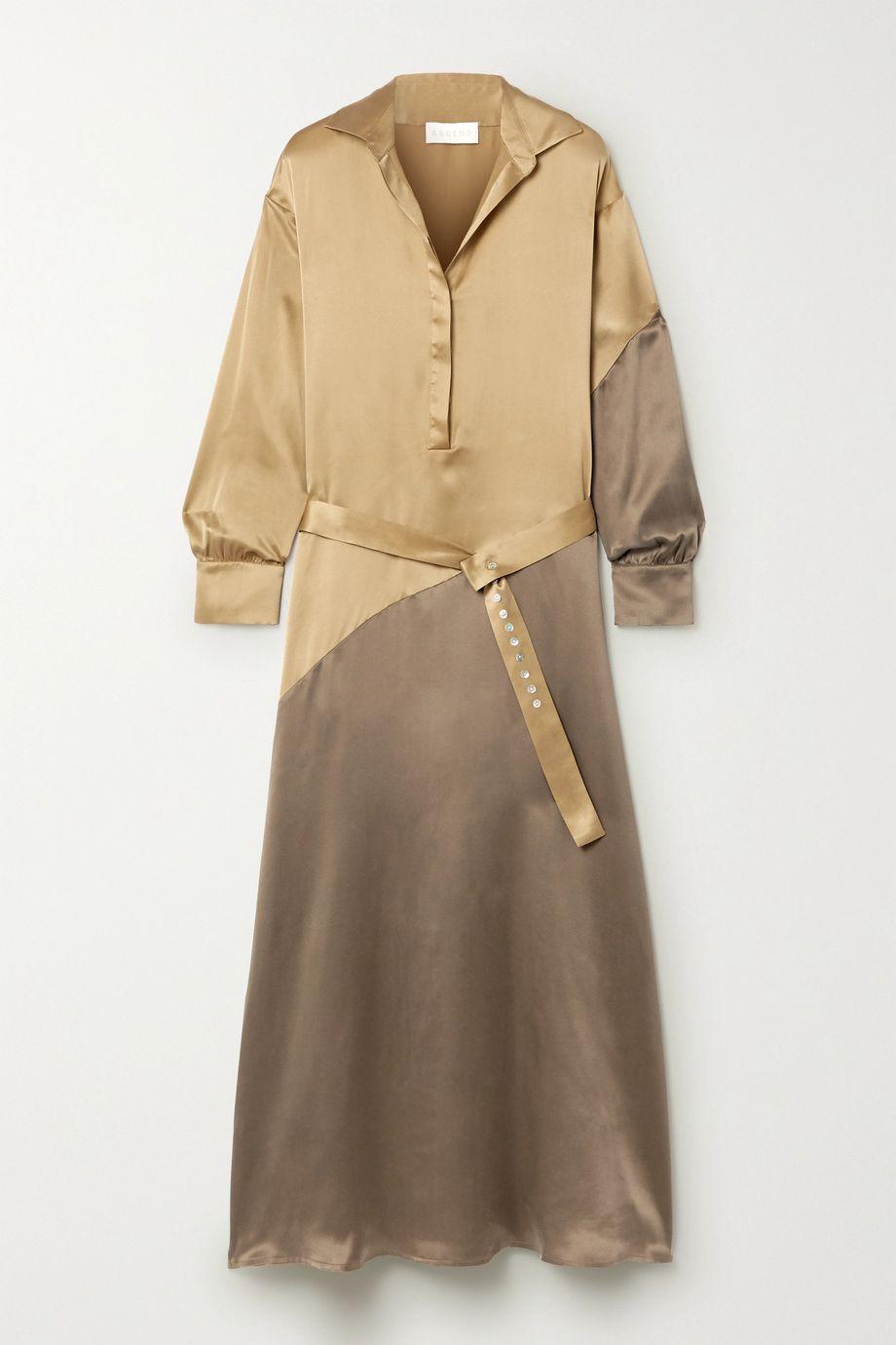 ASCENO 【NET SUSTAIN】Santana 大廓形双色丝缎超长连衣裙
