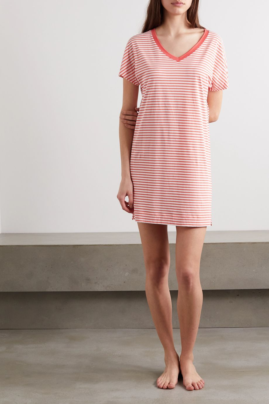 Hanro Laura striped cotton and modal-blend nightdress