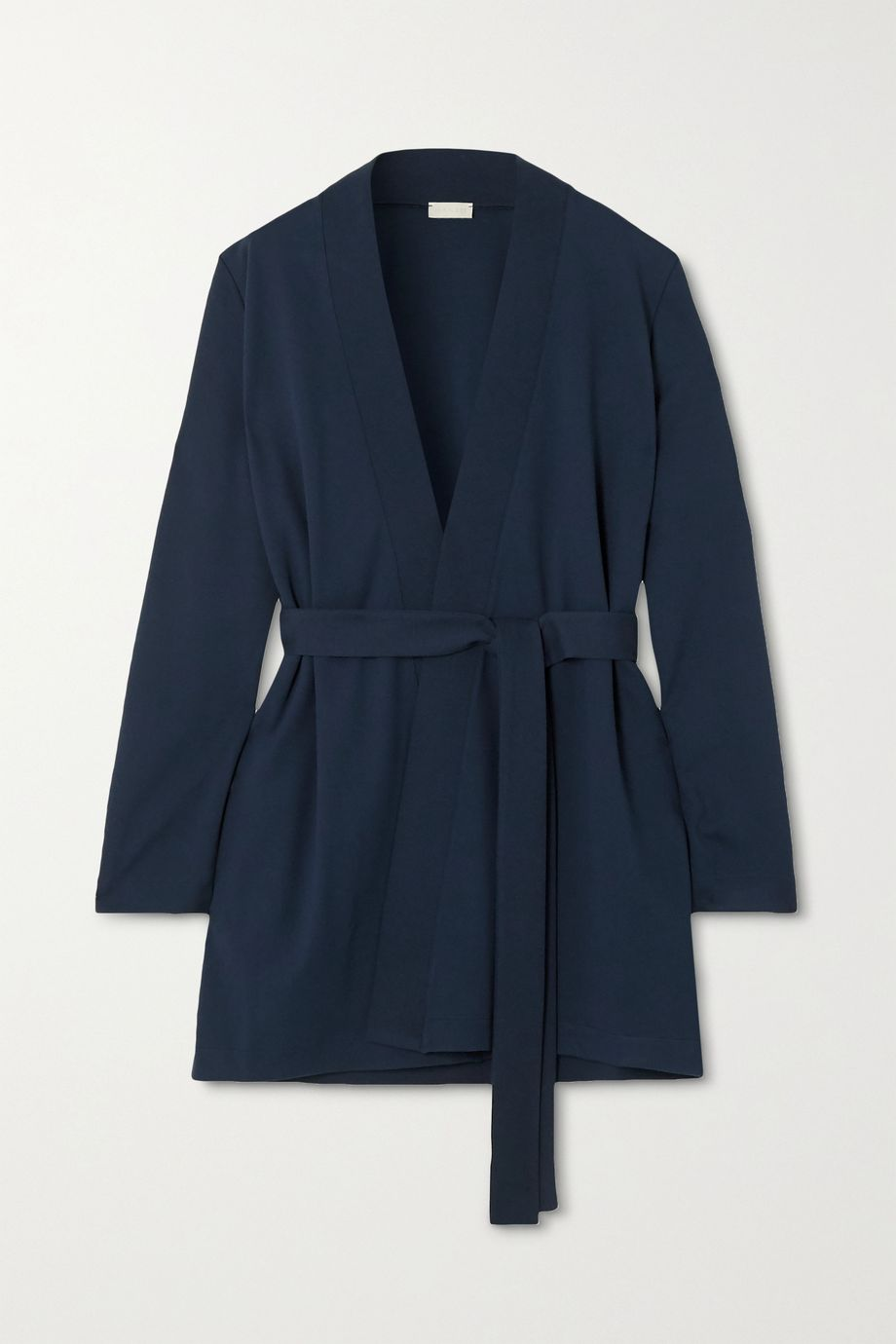 Hanro Pure Comfort belted piqué-trimmed jersey cardigan