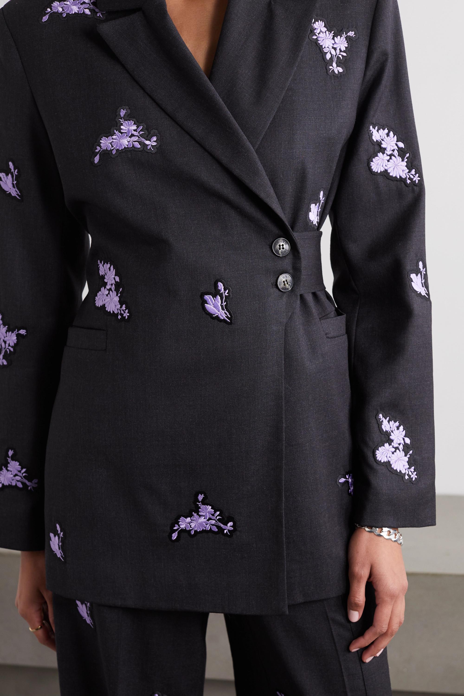 GANNI Belted embroidered wool blazer