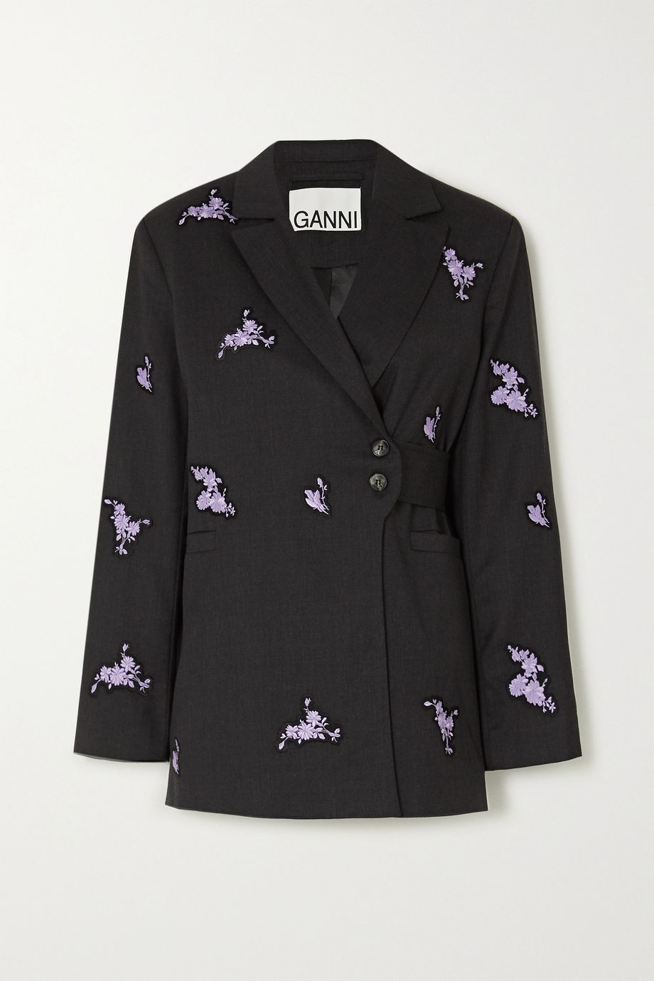 GANNI Belted embroidered wool blazer