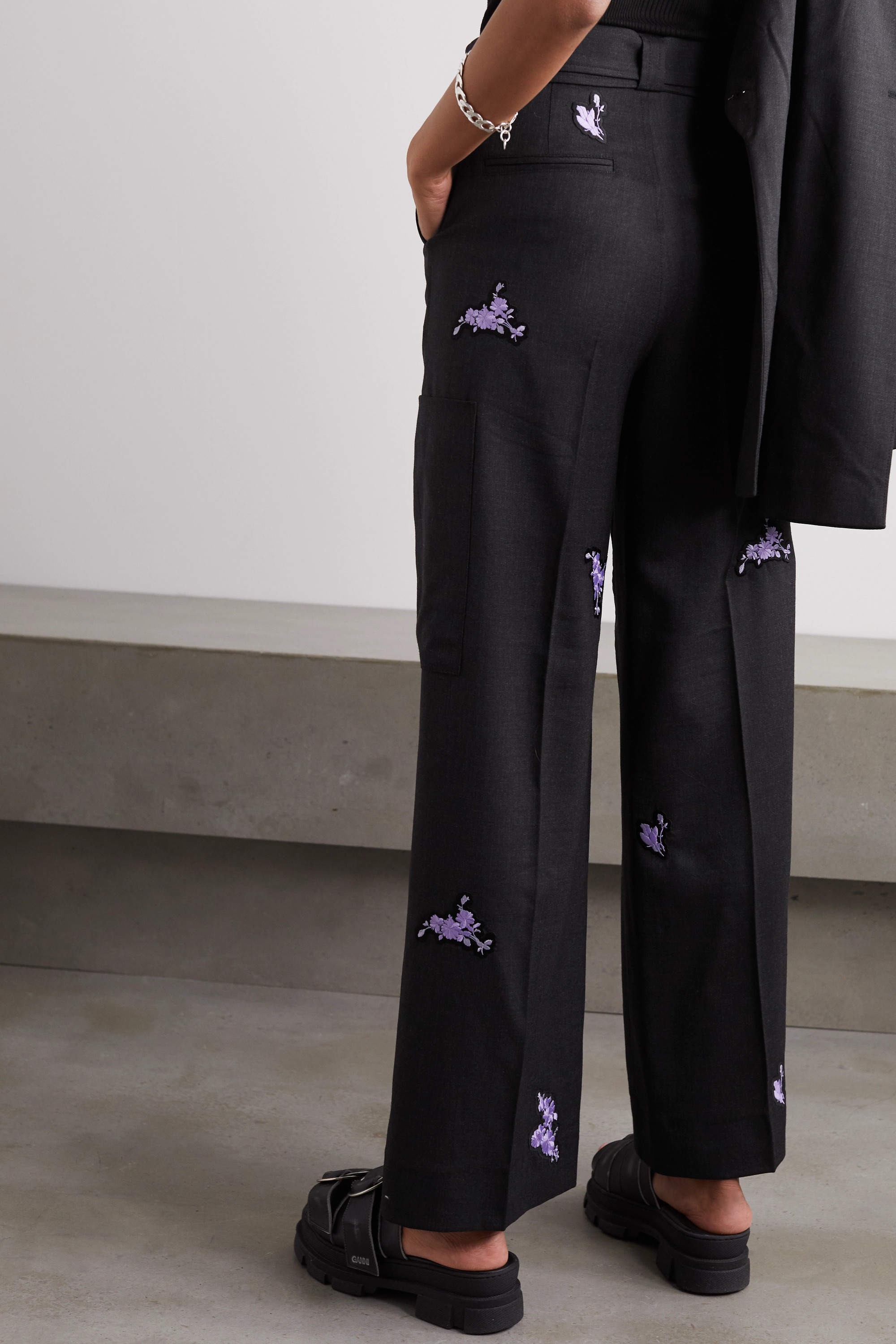 GANNI Belted embroidered wool wide-leg pants