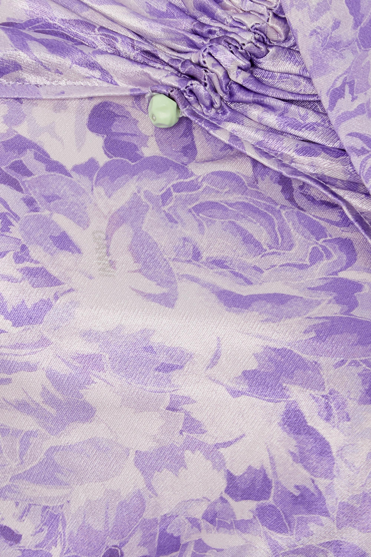 GANNI Cutout ruched floral-print satin midi dress
