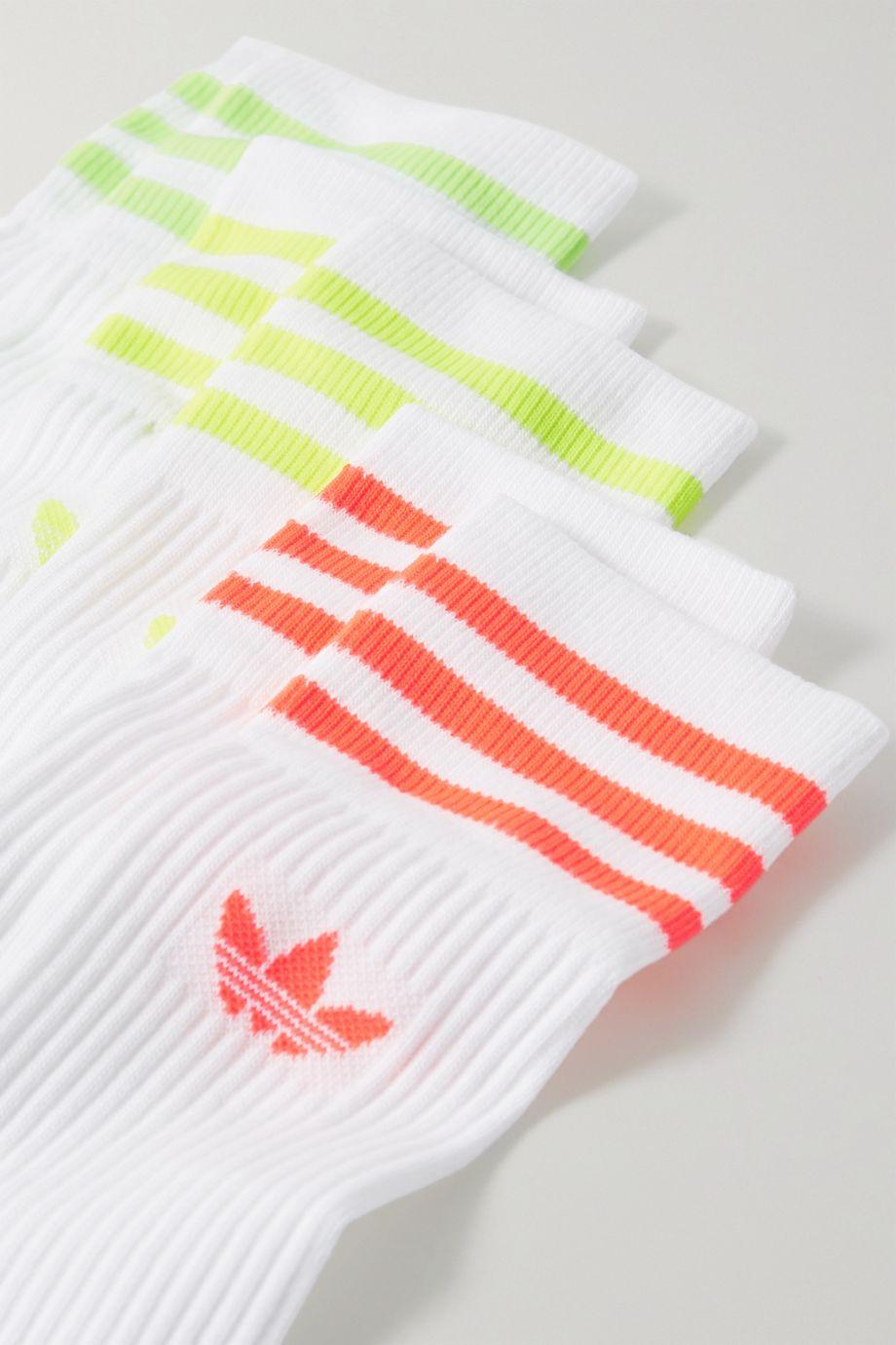 adidas Originals Set of three striped ribbed cotton-blend socks