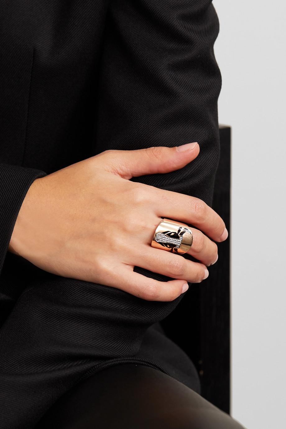 Diane Kordas Bague en or rose 18 carats, diamants et émail