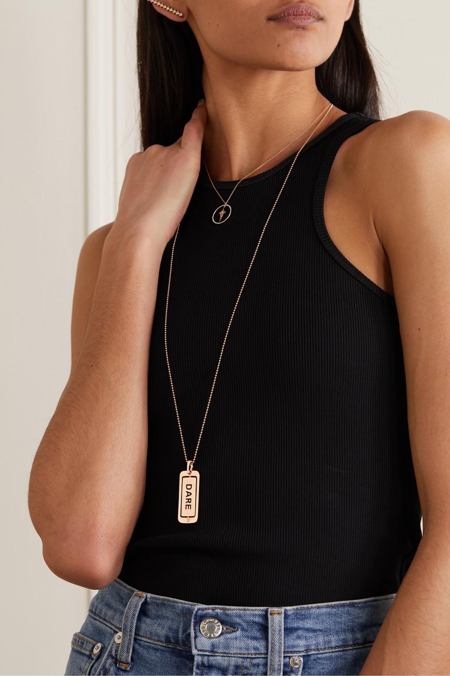 Diane Kordas 18-karat rose gold, enamel and diamond necklace