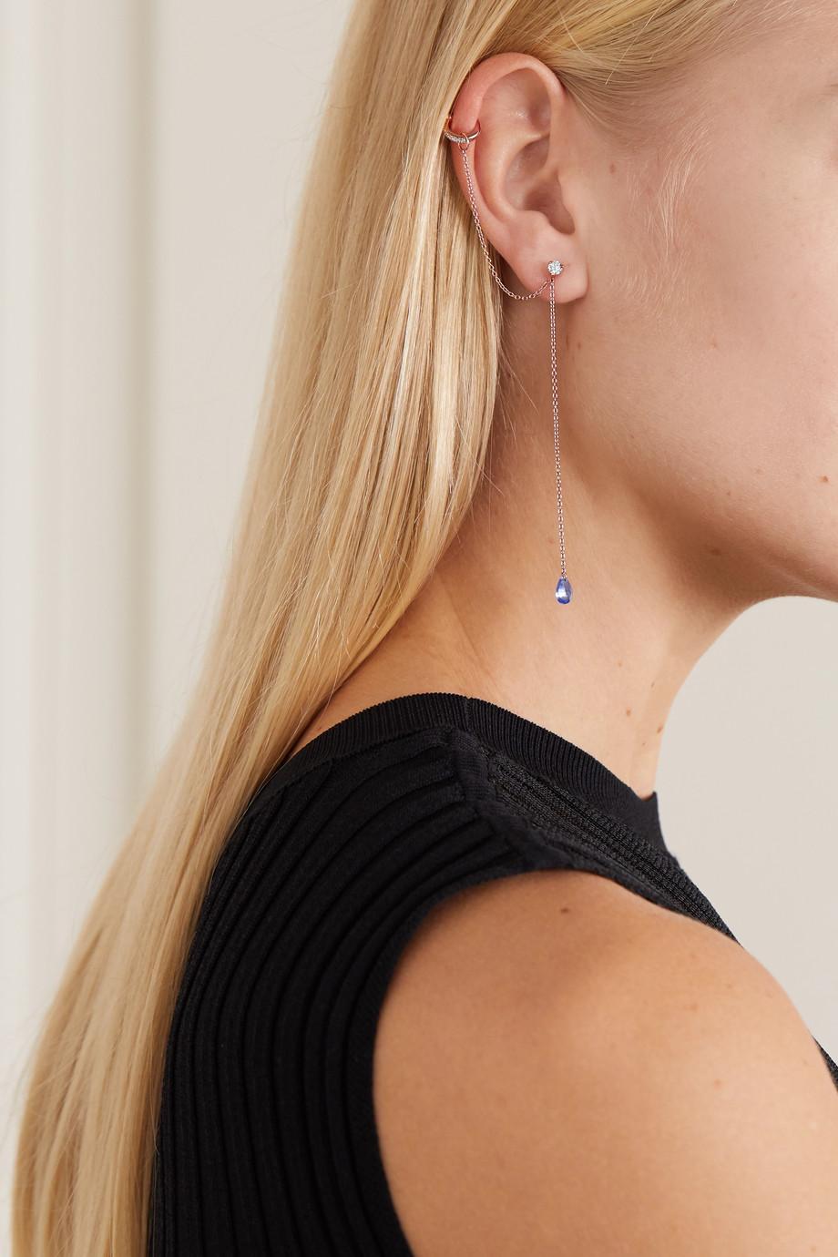 Diane Kordas 18-karat rose gold, sapphire and diamond earring