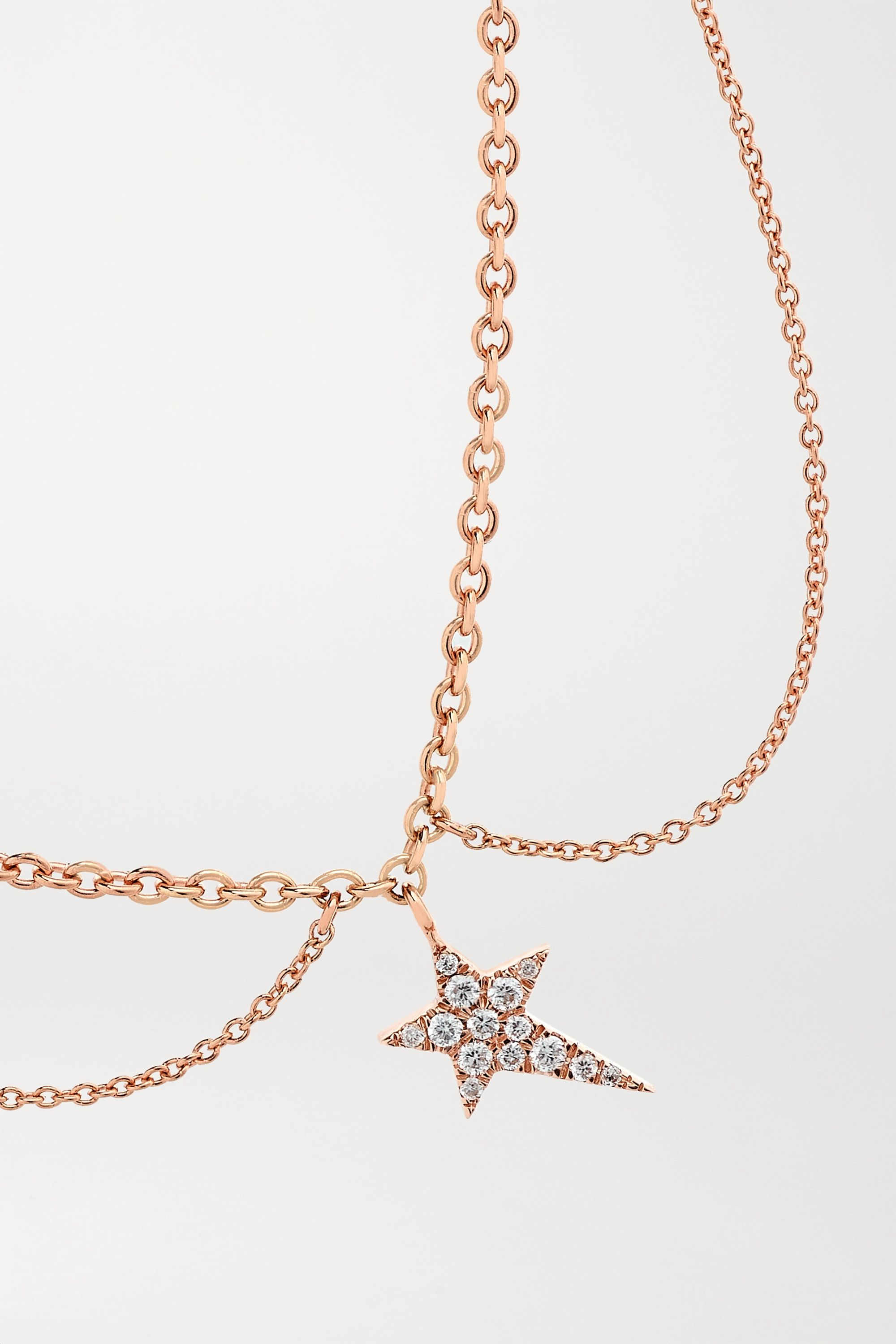 Diane Kordas Star 14-karat rose gold diamond anklet