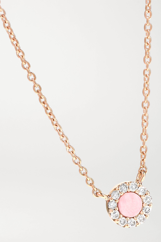 Diane Kordas 18-karat rose gold, coral and diamond necklace