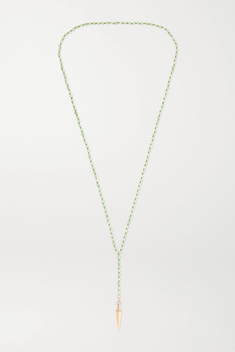 Diane Kordas 18-karat rose gold, aventurine and diamond necklace