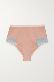 Ottalie corded lace-trimmed satin-jersey briefs