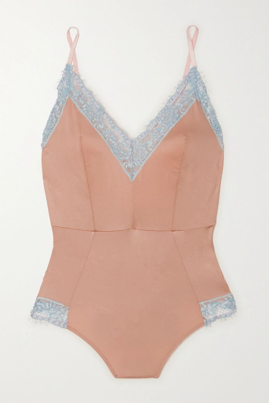 Dora Larsen Ottalie corded lace-trimmed satin-jersey bodysuit