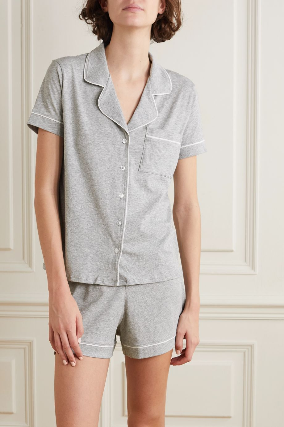 Skin Pyjama aus meliertem Bio-Pima-Baumwoll-Jersey mit Paspeln