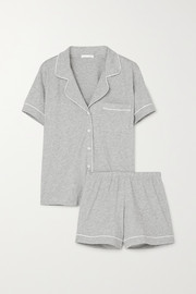 Skin Piped mélange organic Pima cotton-jersey pajama set