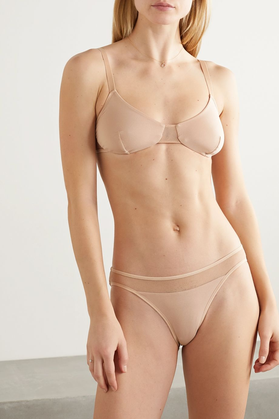 Skin Ovelia tulle-trimmed stretch-organic Pima cotton-jersey bralette