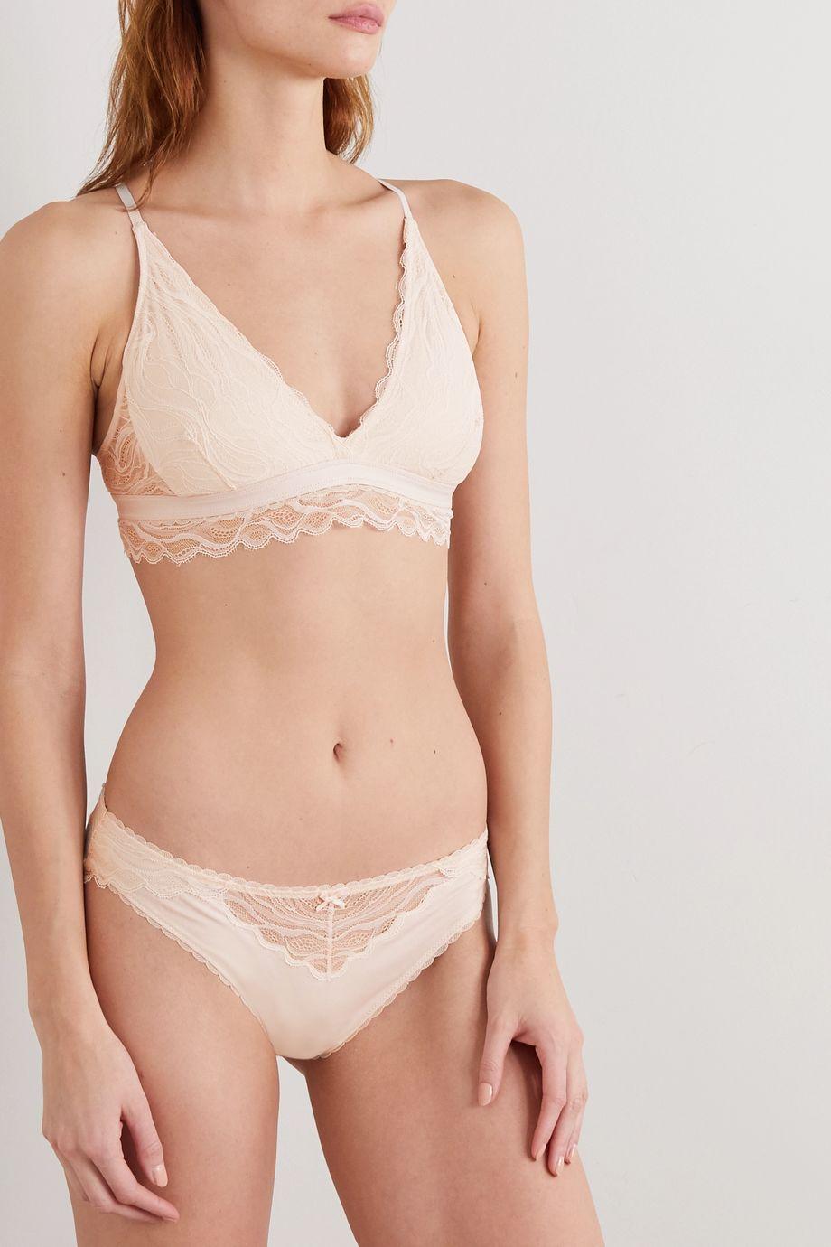Skin Serafina Triangel-BH aus Bio-Pima-Baumwoll-Jersey mit Stretch-Anteil und Spitze