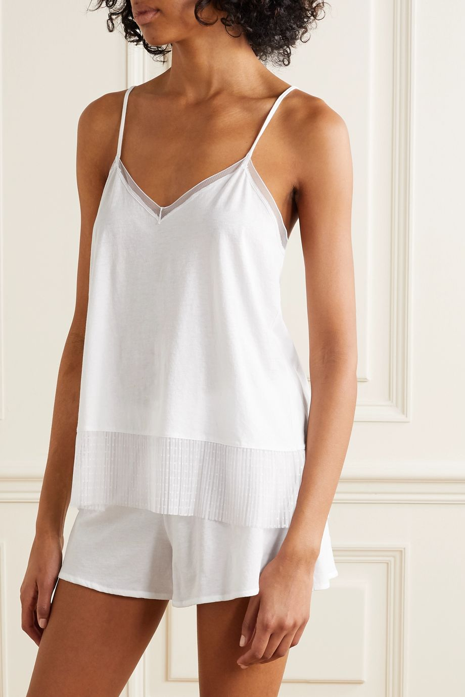 Skin Pleated point d'esprit tulle-trimmed organic Pima cotton-jersey pajama set