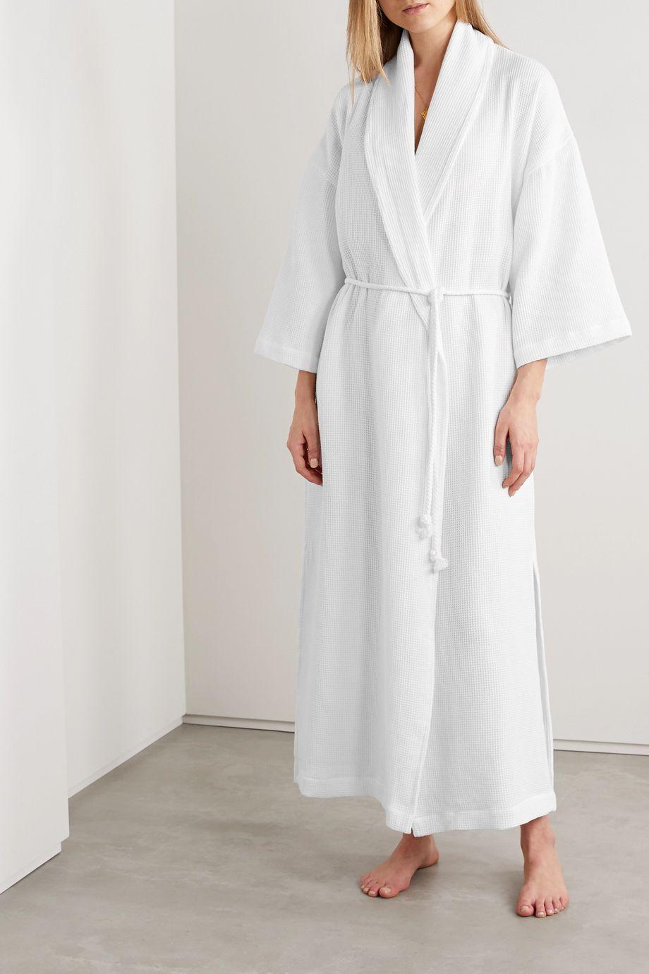 Skin Cecilia waffle-knit cotton robe