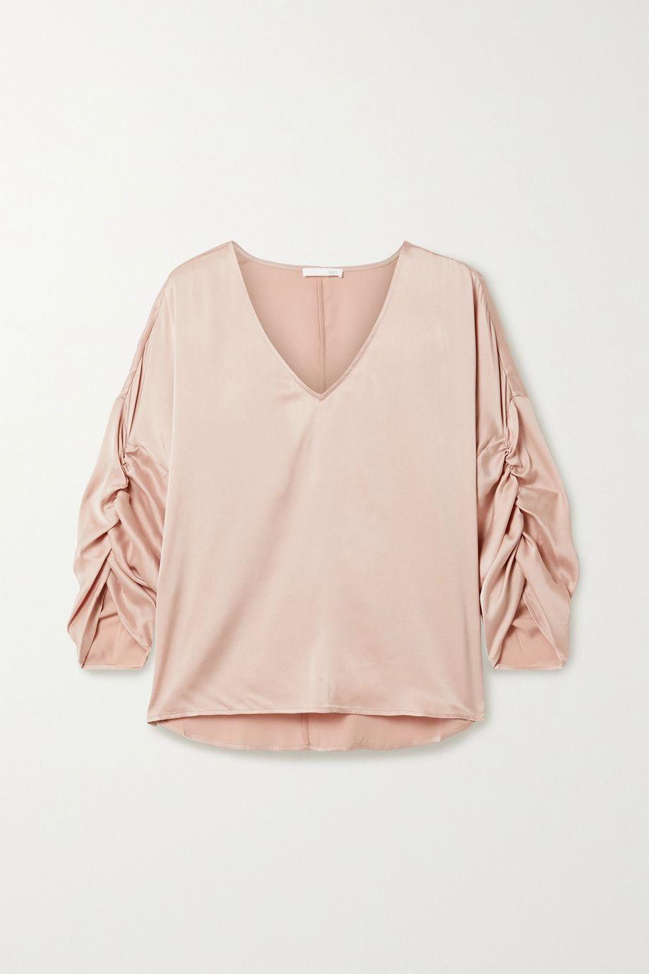 Skin Gathered washed stretch-silk satin top