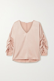 Gathered washed stretch-silk satin top
