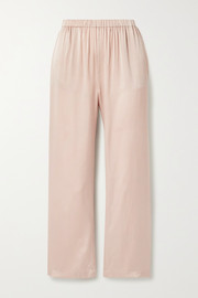 Washed stretch-silk satin pants
