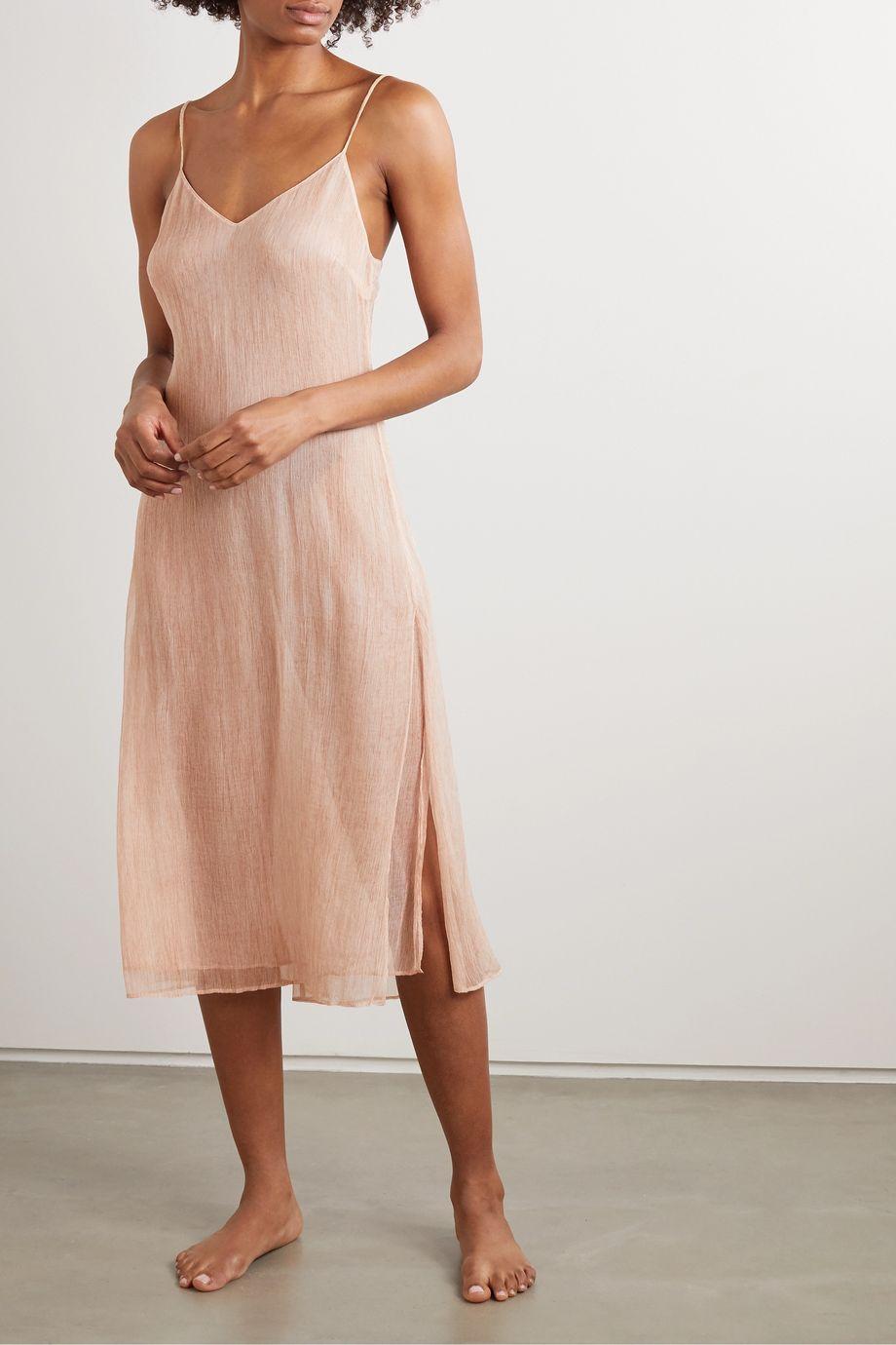 Skin Shani crinkled silk-chiffon chemise
