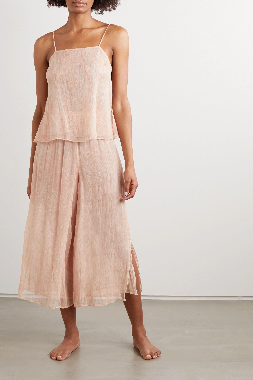 Skin Crinkled silk-chiffon camisole