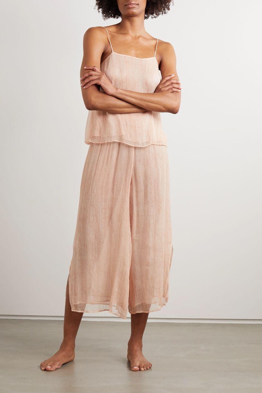 Skin Sapir cropped crinkled silk-chiffon wide-leg pajama pants