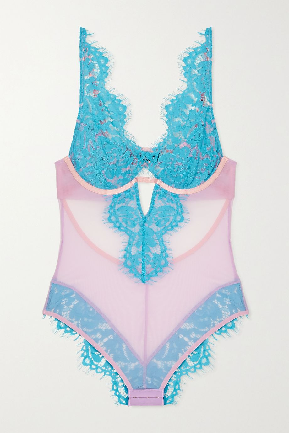 Dora Larsen Lucia stretch-tulle and lace underwired bodysuit