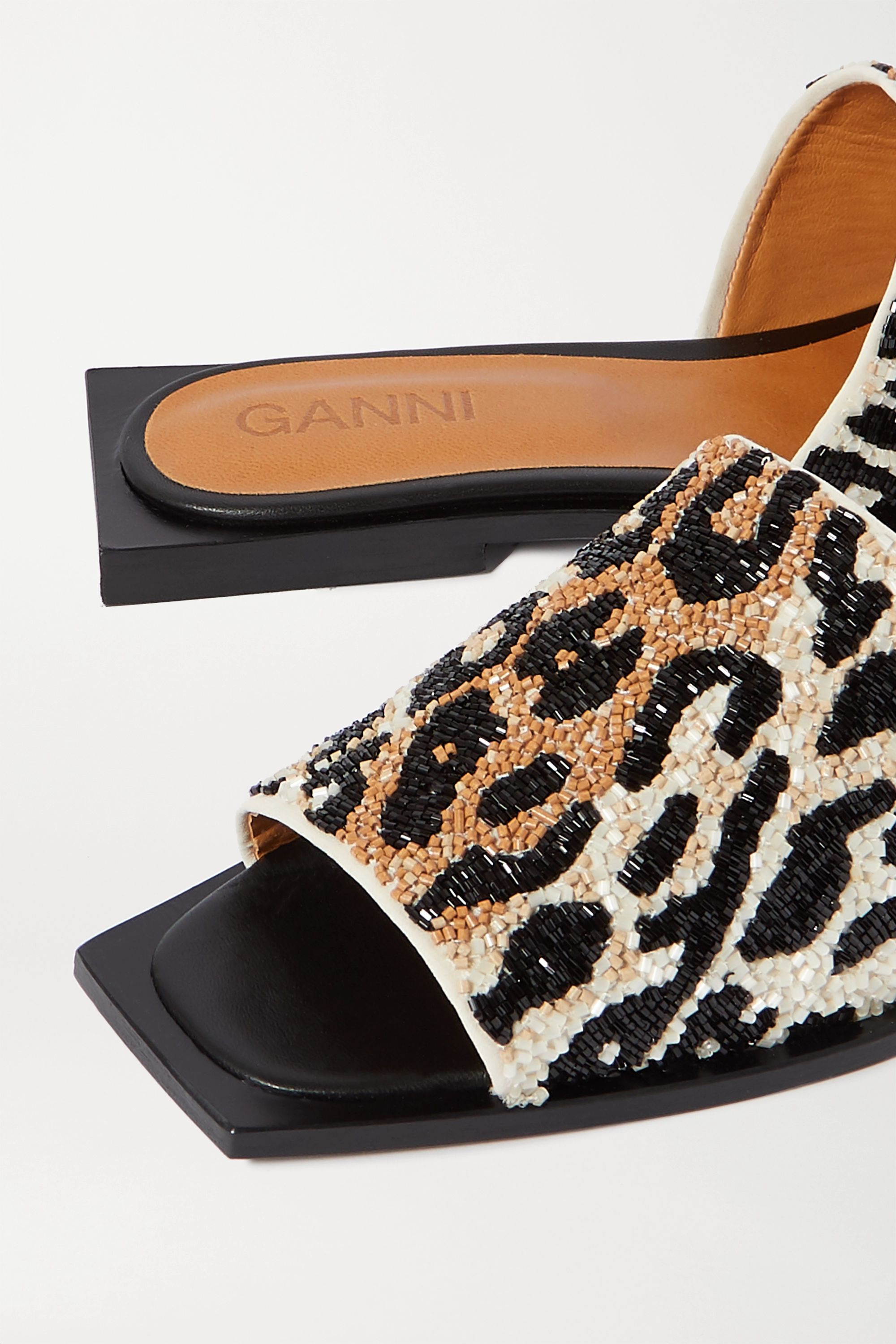 GANNI Beaded canvas slides