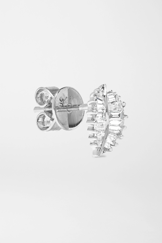 Anita Ko Palm Leaf kleine Ohrringe aus 18 Karat Weißgold mit Diamanten