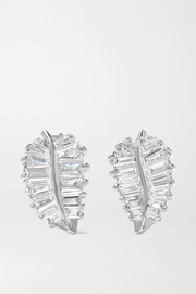 Palm Leaf small 18-karat white gold diamond earrings