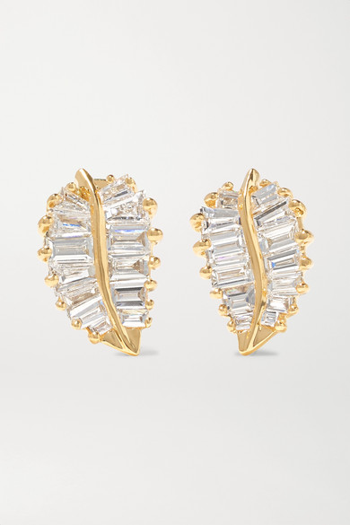 Small 18 Karat Gold Diamond Earrings by Anita Ko