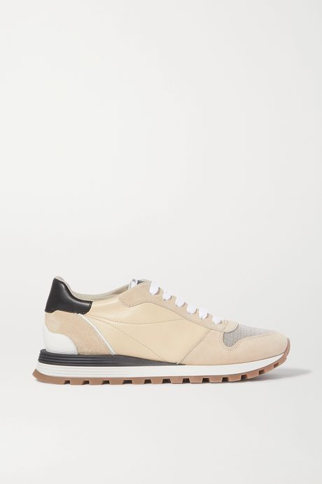 Beige Bead-embellished nylon, suede and leather sneakers | Brunello Cucinelli eivadM