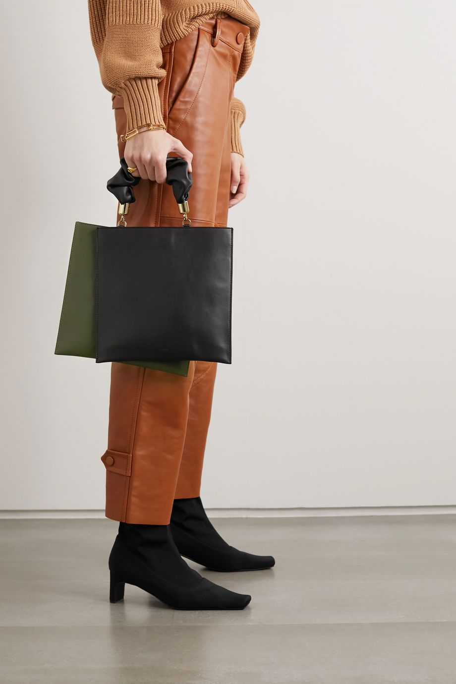 The Sant Obi two-tone leather tote