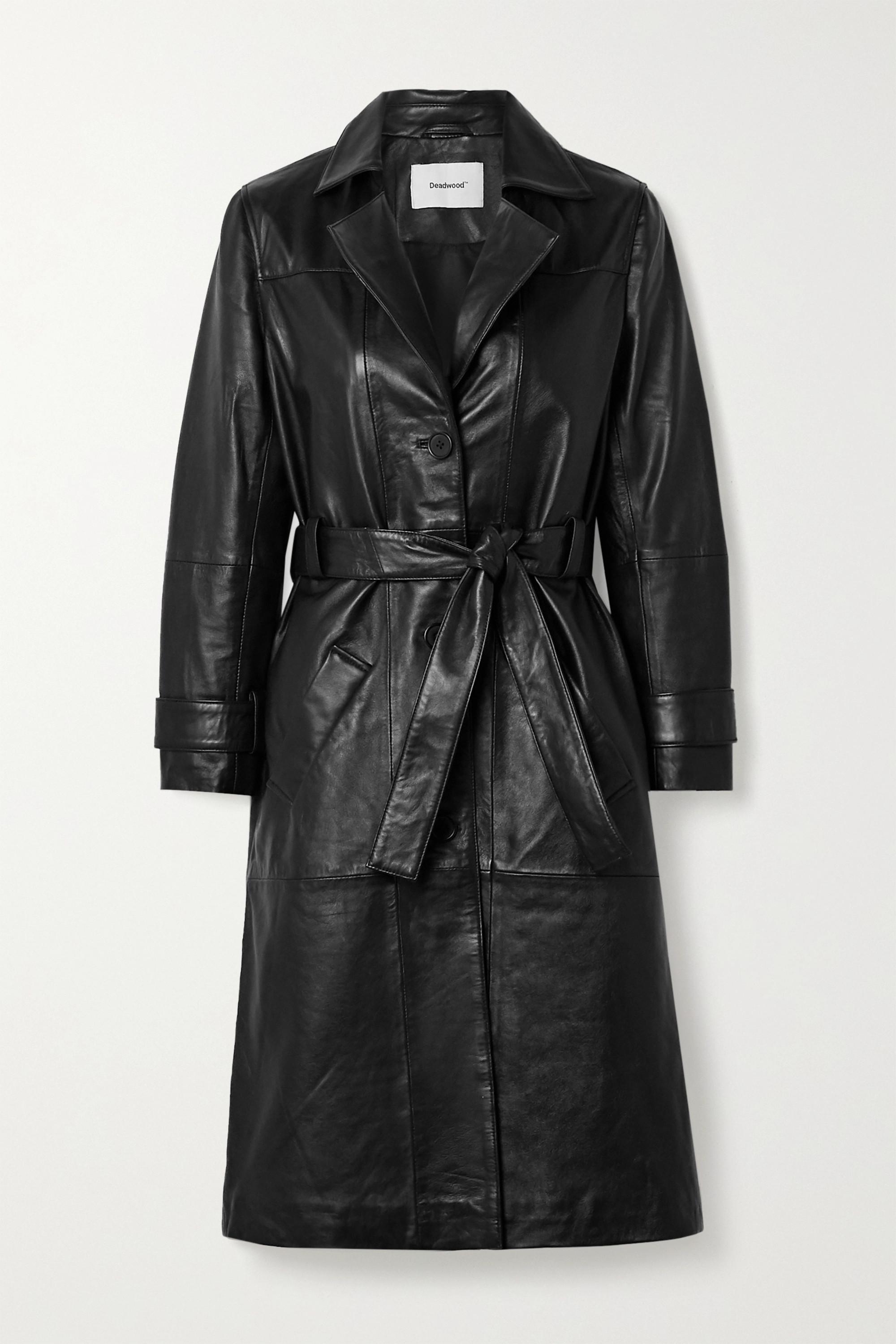 Deadwood Terra belted leather coat