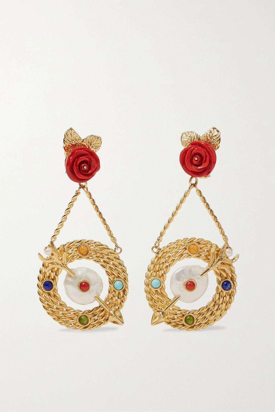 Of Rare Origin Bull's-Eye gold vermeil multi-stone earrings