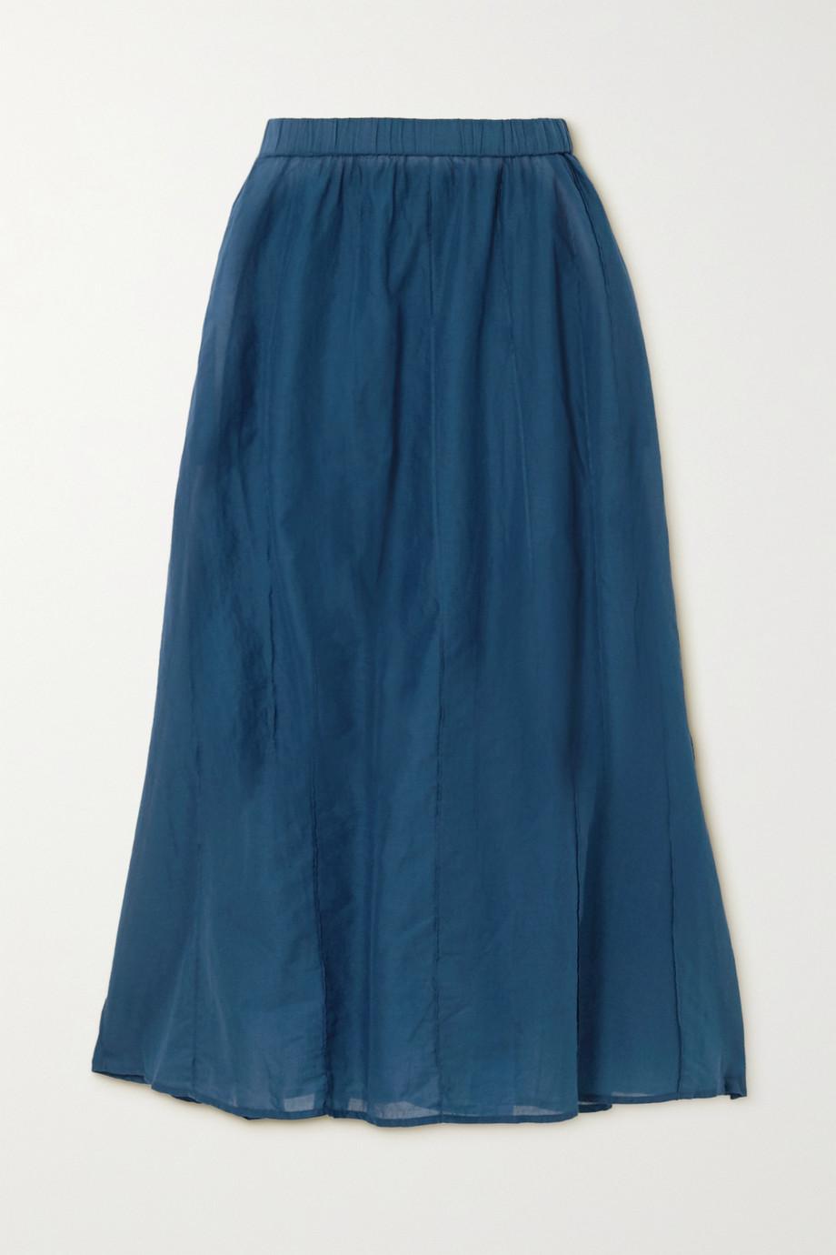 Skin Beatriz pintucked cotton-voile midi skirt