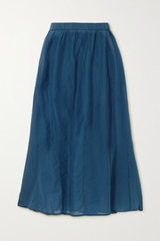 Skin Beatriz pintucked cotton-voile midi skirt