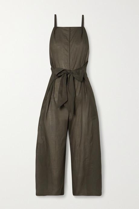 Army green Brisa tie-front cotton-voile jumpsuit | Skin 3pWPvR