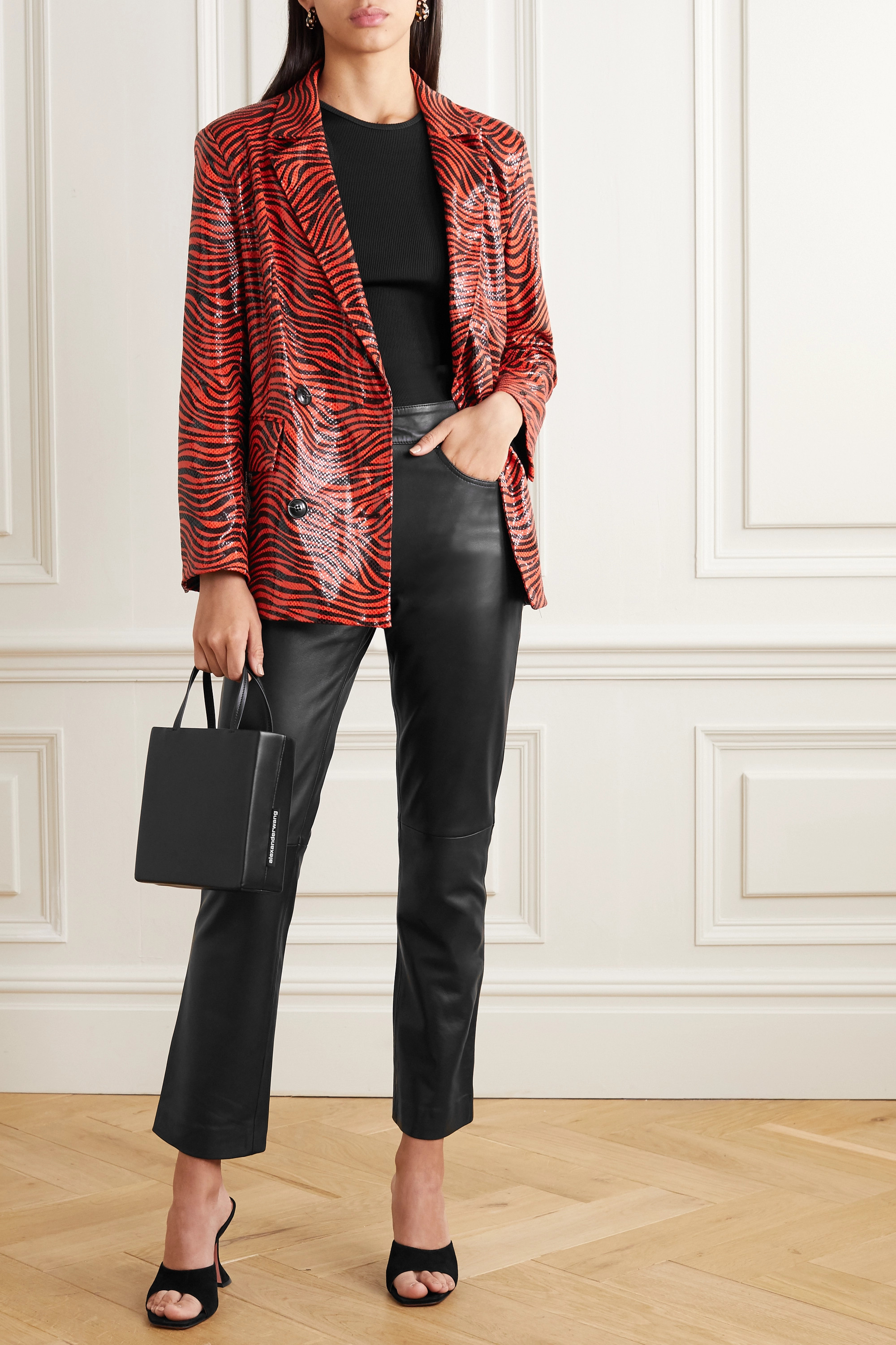 Stand Studio Avery cropped straight-leg leather pants